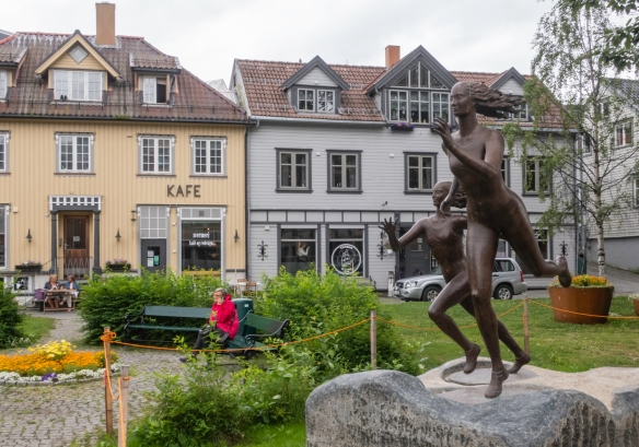 The Kafe (coffee house) has a nice public garden in front for patrons to enjoy, Tromsø, Norway