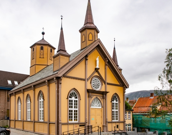 The old Catholic church in the center of Tromsø, Norway