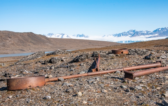 The remains of a German World War II remote semi-automated weather station that was invisible from the Signehamna landing site on Krossfjorden, Spitsbergen, Svalbard