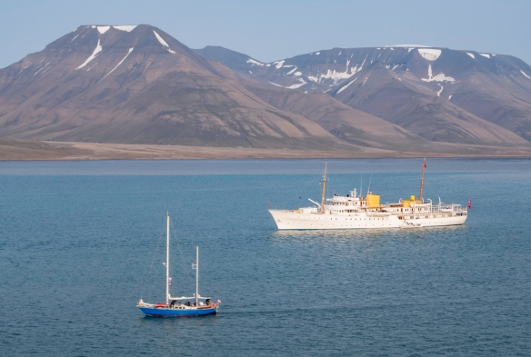 The Royal Yacht, SS Norge, with the King of Norway aboard, was visiting Longyearbyen, Spitsbergen Island, Svalbard, at the same time we were docked at the town pier