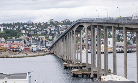 We walked across the Tromsøbrua (bridge) that connects the central business district with the residential district where the Ishavskatedralen (Arctic Cathedral) sits on a knoll, Tromsø