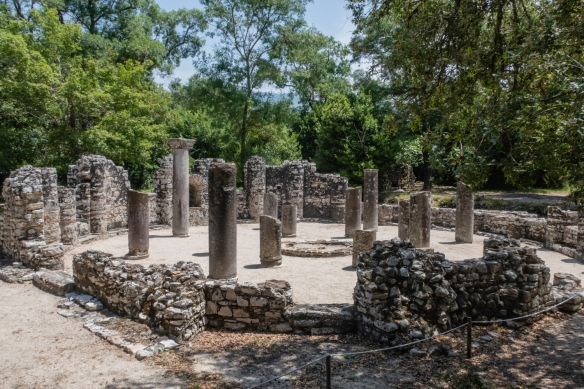 A baptistery of the 2nd century A.D. with a well preserved mosaic floor, Butrint National Park, Sarandë, Albania; the Butrint Baptistery is one of the outstanding early Byzantine monum