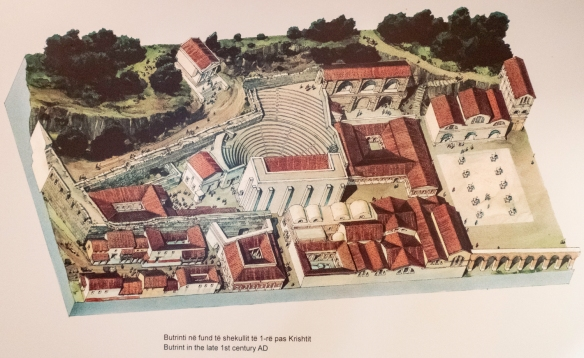 A drawing of what archaeologists believe Roman Butrint looked like in the late 1st century A.D., Butrint National Park, Sarandë, Albania; the late 1st century A.D. was a prosperous per