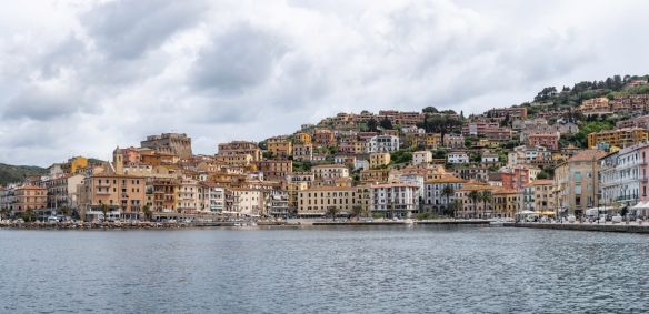 A panorama of the seaside town of Porto Santo Stefano, Italy