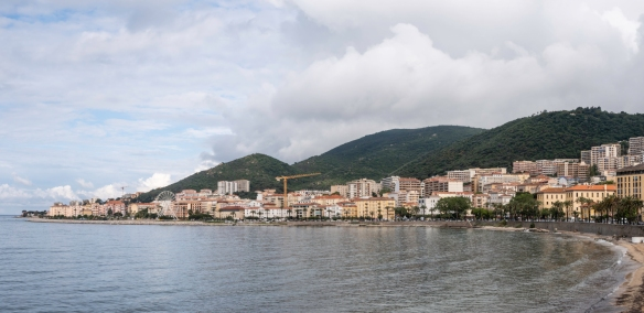 A panorama taken along the coast adjacent to Boulevard Pascal Rossini, featuring residences and a few hotels on the waterfront, Ajaccio, Corsica (France)