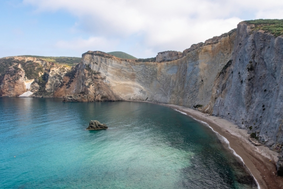 A secluded beach, reached only by water, Ponza, Italy