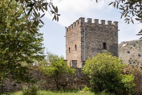 A Venetian guard tower at the city walls built in the 15th and 16th centuries, Butrint National Park, Sarandë, Albania