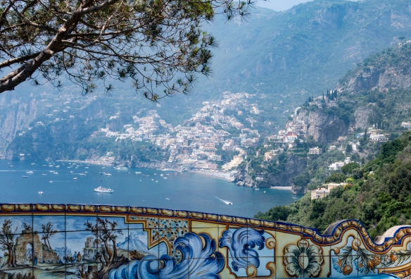 A view of the town of Positano, looking west, from the terrace of Il San Pietro di Positano Hotel, Positano, Italy #2