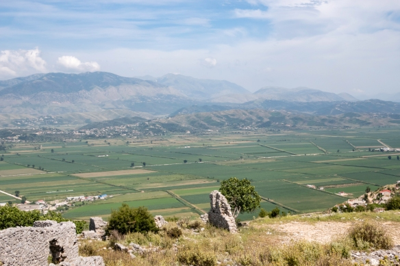 After lunch we were driven up a strategic hill overlooking Sarandë, Albania, to Lëkurësi Castle, now in ruins and partially restored; it was built in 1537 by the Ottoman Turkish Su