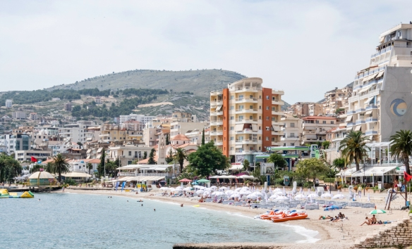 All along the promenade are new hotels catering to the large number of tourists in Sarandë, Albania