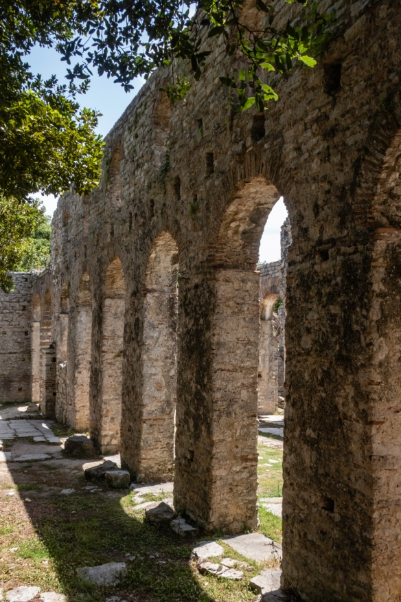 An arched exterior wall of the Great Basillica, Butrint National Park, Sarandë, Albania