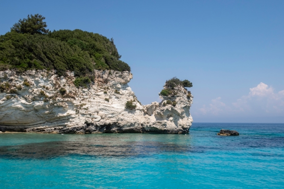 An interesting landform (reminiscent of a camel?) as we sailed around Paxos Island, Greece