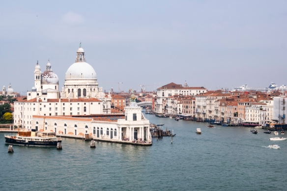As our ship sailed west towards our dock, on the main shipping channel (Guidecca Canal), we passed the beautiful domed Basilica di Santa Maria dell Salute (Basilica of St. Mary of Health