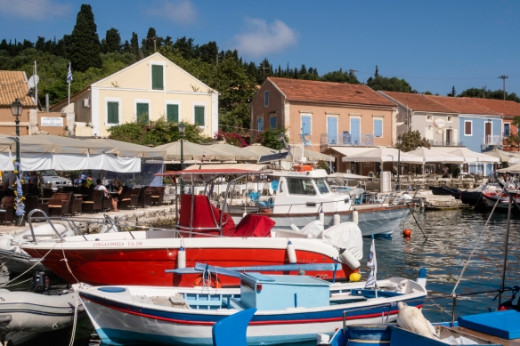 Boats in the harbor of Fiskardo, Kefalonia Island, Greece