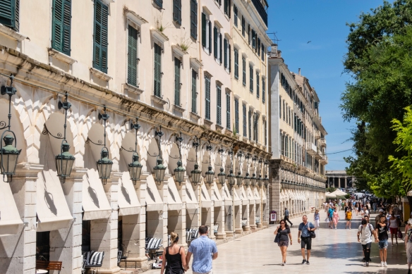 Designed as a symbol of the old Corfu aristocratic society, the Liston – an arched colonnade -- remains a significant landmark of Corfu, Greece