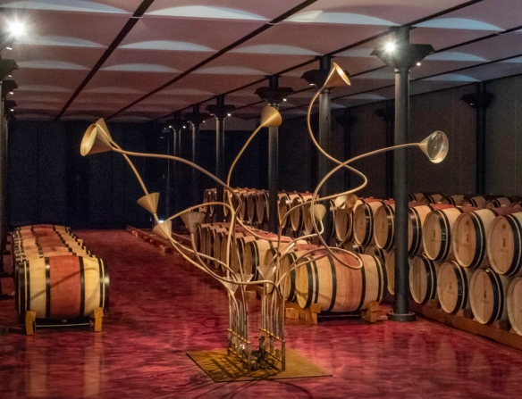Even the barrel aging room features modern art at Ornellaia (winery), Bolgheri, Italy
