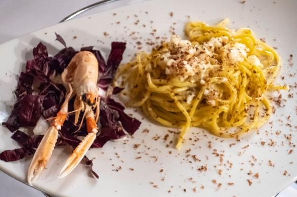 For our main course, we shared a delicious langoustine pasta, Il Tegolo Champagneria-Crudite_, Livorno, Italy