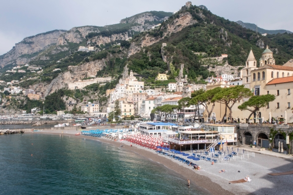 Hiking the Amalfi Coast, Italy, #1 – the town of Amalfi, viewed from the east