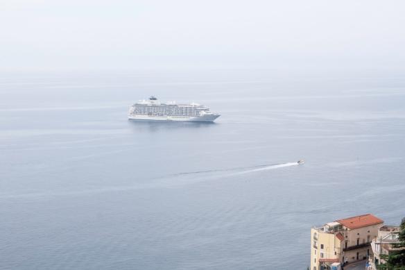 Hiking the Amalfi Coast, Italy, #7 -- our ship shrouded in the coastal fog