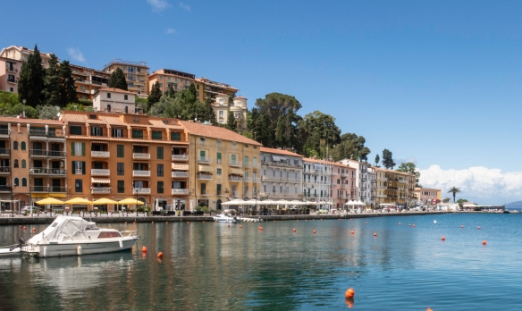 Hotels and residences along Via del Molo, Porto Santo Stefano, Italy