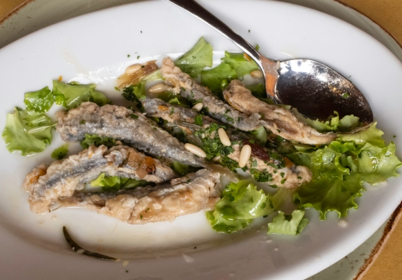 Lightly fried local sardines with a pine nut sauce was a starter in our luncheon at Osteria del Noce, Marciana Alta, Elba, Italy