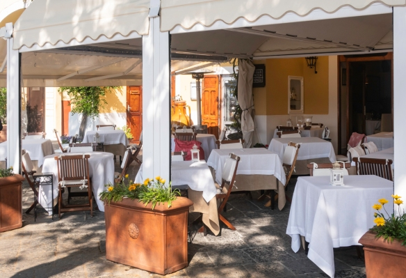 Luigi Pesce's Acqua Pazza is Ponza, Italy's leading gourmet restaurant, situated in its scenic port with views of the sea from the outdoor terrace