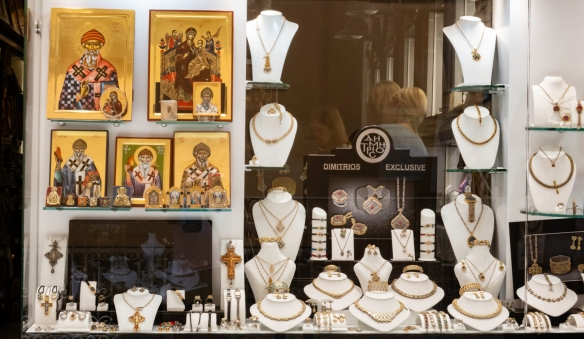 Many stores selling jewelry also sold religious paintings and icons, Kerkyra, Corfu, Greece