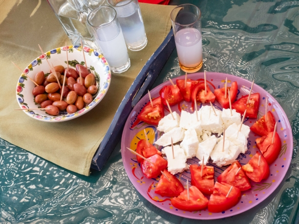 Mrs. Vassiliki welcomed us to her home with a glass of Greek ouzo and snacks (tomatoes and feta cheese) while she described their lesson plan, Chez Vassiliki, Karavados, Kefalonia Island