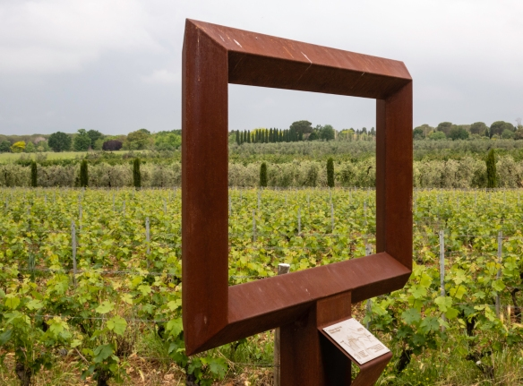 "One of the Corten steel frames set up in the vineyards of Le Macchiole (winery), Bolgheri, Italy, by the family owners as part of their ""Messorio04Bolgheri"" project"