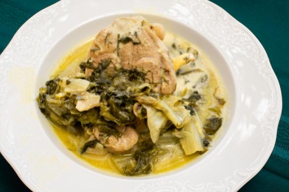 One of the final dishes (that we ate!)- chicken with egg-lemon sauce (Avgolemono sauce), Chez Vassiliki, Karavados, Kefalonia Island, Greece