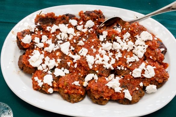 One of the final dishes (that we ate!)- lamb meatballs with tomatoes and feta cheese, Chez Vassiliki, Karavados, Kefalonia Island, Greece