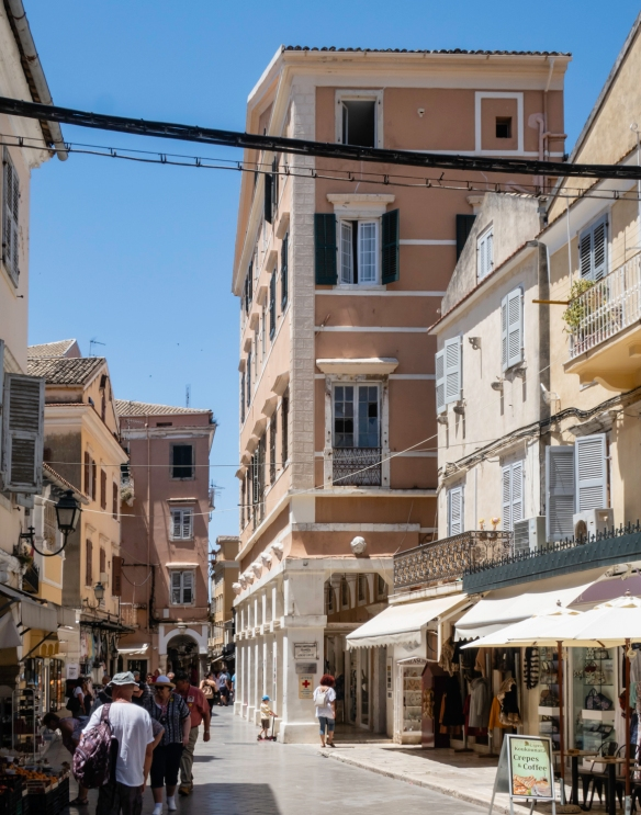 One of the main shopping streets in Kerkyra, Corfu, Greece, where there were many purchases by our group