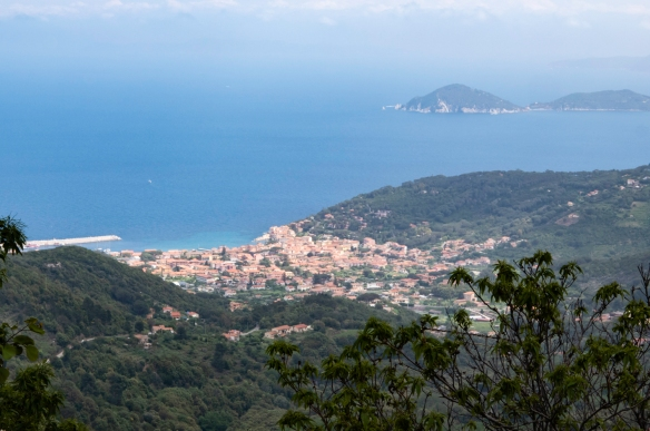 Our hike afforded excellent views of the island and the Mediterranean Sea, Elba (island), Italy; the coastal town is Marciana Marina