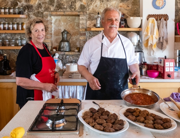 Our hosts and chefs, Vassiliki and George, at Chez Vassiliki cooking school, Karavados, Kefalonia Island, Greece