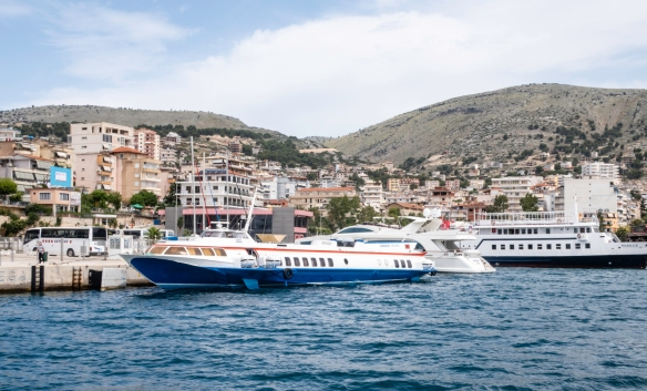 Our hydrofoil from Corfu, at dock in Sarandë, Albania; the boat and engines were built many decades ago by the Russians and we hoped the tape and chewing gum that held it together last