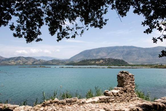 Remains of the original city walls facing Lake Butrint near what is now the entrance to the historical site, Butrint National Park, Sarandë, Albania
