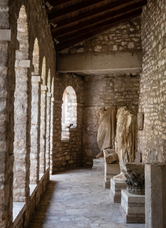 Roman statues of the imperial family that were displayed in the theatre and other public spaces in Butrint, Butrint National Park, Sarandë, Albania