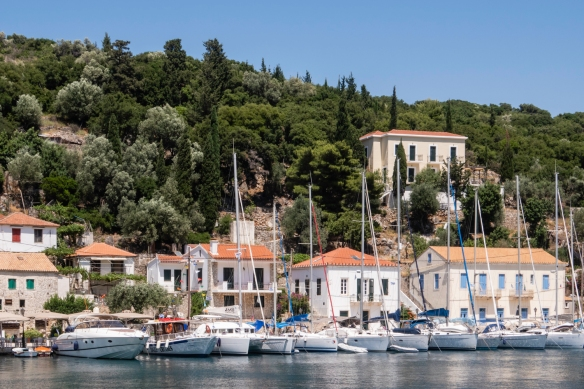 Sailboats in the harbor of Frikes, Ithaca Island (mythical home of Odysseus), Greece
