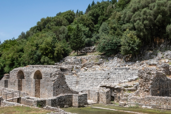 The ancient Roman theatre, arranged according to the Roman style and equipped with a Roman scene, Butrint National Park, Sarandë, Albania