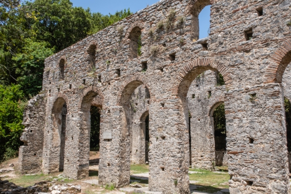 The exterior walls of the Great Basillica – a cult establishment of the early Chrisian period, built in the 6th century A.D., Butrint National Park, Sarandë, Albania