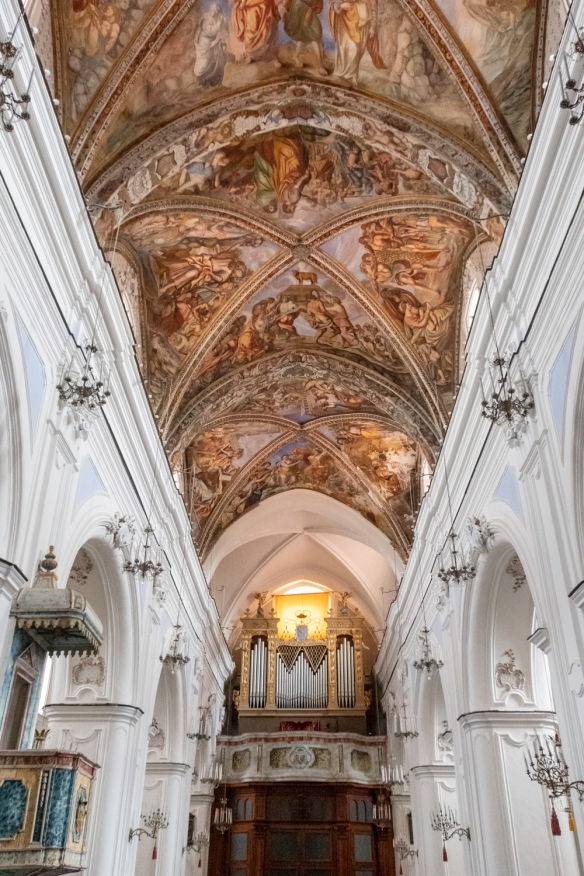 The interior of Cattedrale di San Bartolomeo (the Cathedral of St. Bartholomew) features ornamented altars, frescoes, and a silver statue of St. Bartholomew, Lipari_s patron saint., Li
