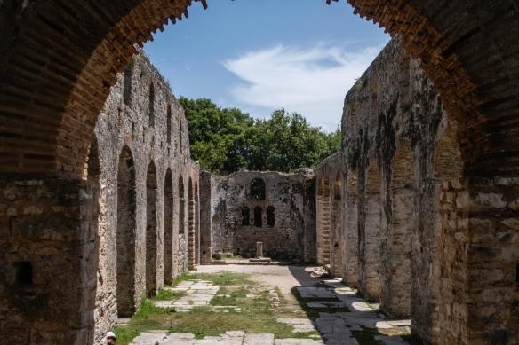 The interior of the Great Basillica, Butrint National Park, Sarandë, Albania