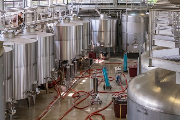The production facility at Ornellaia (winery), Bolgheri, Italy, glistens with stainless steel tanks and equipment