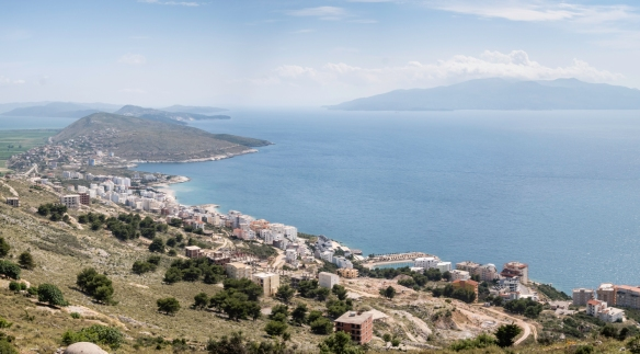 The road down the coast, southward from the hill that is the site of Lëkurësi Castle, heads to the National Park of Butrint, our destination earlier that morning, Sarandë, Albania;