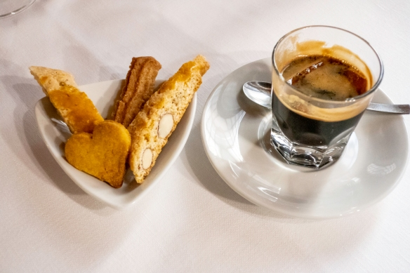 The simplest of desserts – homemade cantucci (Italian almond cookies) with the local ponce (rum and espresso), Il Tegolo Champagneria-Crudite_, Livorno, Italy