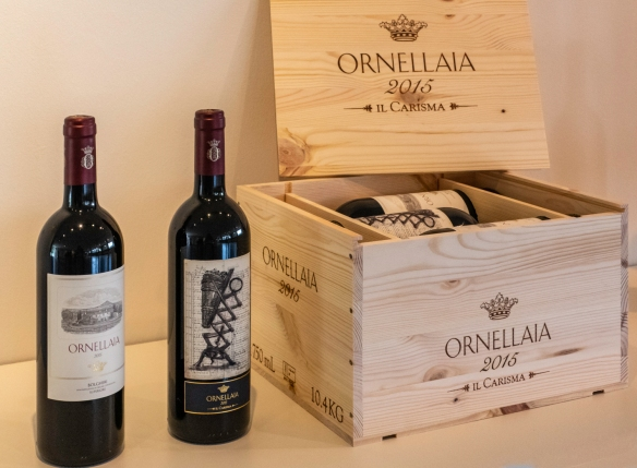 "The South African artist William Kentridge designed a special label, ""Il Carisma"" for Ornellaia 2015; Ornellaia is a cuvée of Cabernet Sauvignon, Merlot, Cabernet Franc & Petit Ver"