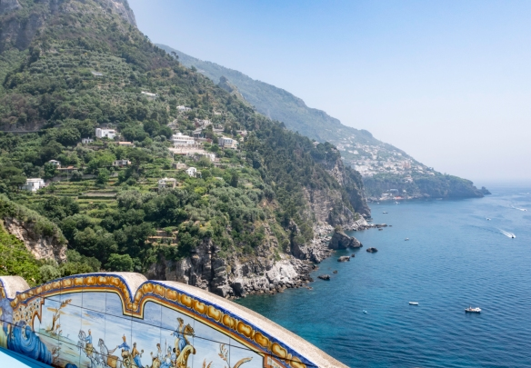 The view looking east towards the town of Amalfi from the terrace of Il San Pietro di Positano Hotel, Positano, Italy #3