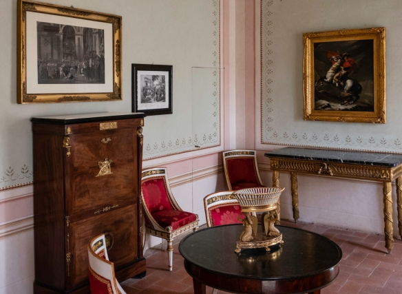 The Villa dei Mulini was extensively restored in the twentieth century with period furniture acquired to resemble the appearance and functionality of the rooms during Napoleon_s exile