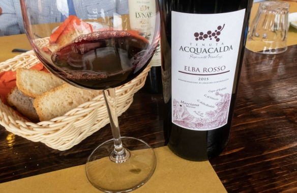 To begin our small hiking group luncheon at Osteria del Noce, Marciana Alta, Elba, Italy, we were served some homemade bread with a nice bottle of local vino rosso (Red wine) – grown a