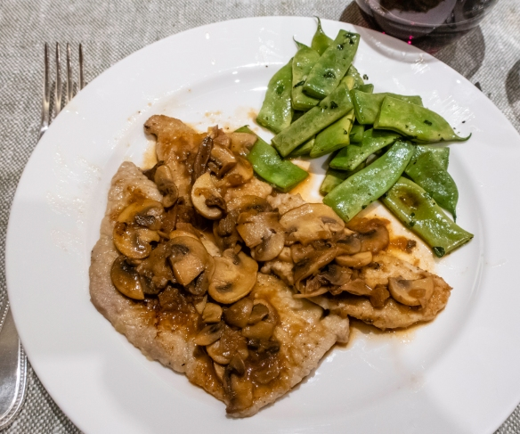 Veal scallopini Marsala with fresh Romano beans – all sourced at the Mercado Centrale -- for our homemade dinner in our apartment on the ship, docked in Livorno, Italy